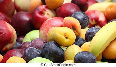 Fresh fruits plums apricots, nectarines