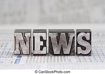 News - The word news in old plumb letters, which were used...