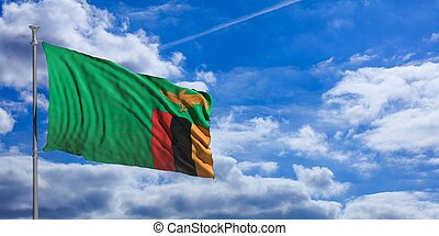Zambia waving flag on blue sky. 3d illustration - Zambia...
