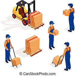 Forklift Truck With Delivery Workers Isolated on White...