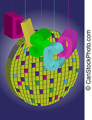 Party Background - Disco Letters and Disco Ball on Gradient...