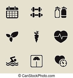 Set Of 9 Editable Exercise Icons. Includes Symbols Such As Stopwatch, Weight Measurement, Root Vegetable And More. Can Be Used For Web, Mobile, UI And Infographic Design.
