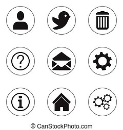 Set Of 9 Editable Network Icons. Includes Symbols Such As Recycle Bin, Home, Profile And More. Can Be Used For Web, Mobile, UI And Infographic Design.