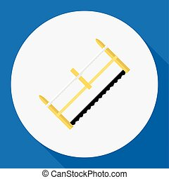 Vector Illustration Of Tools Symbol On Hacksaw Flat Icon. Premium Quality Isolated Handsaw Element In Trendy Flat Style.