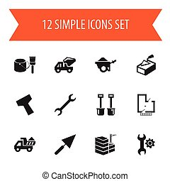 Set Of 12 Editable Structure Icons. Includes Symbols Such As Mending, Trolley, Plastering And More. Can Be Used For Web, Mobile, UI And Infographic Design.