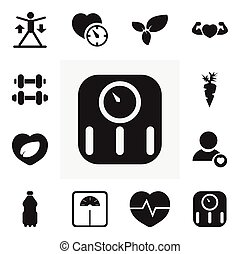 Set Of 12 Editable Sport Icons. Includes Symbols Such As Strong Love, Hand Barbell, Weight Measurement. Can Be Used For Web, Mobile, UI And Infographic Design.