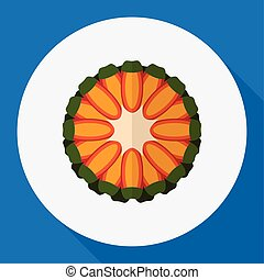 Vector Illustration Of Fruits Symbol On Tropical Fruit Flat Icon. Premium Quality Isolated Guava Element In Trendy Flat Style.