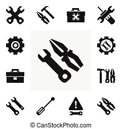 Set Of 12 Editable Repair Icons. Includes Symbols Such As...