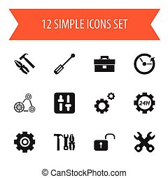 Set Of 12 Editable Mechanic Icons. Includes Symbols Such As Mechanic Cogs, Gear, Time And More. Can Be Used For Web, Mobile, UI And Infographic Design.