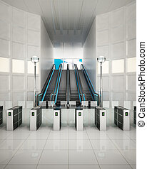 subway station - 3D illustration of exit of the subway