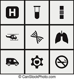 Set Of 9 Editable Hospital Icons. Includes Symbols Such As Heart, Emergency, Wound Band. Can Be Used For Web, Mobile, UI And Infographic Design.