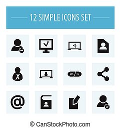 Set Of 12 Editable Web Icons. Includes Symbols Such As Edit File, Computer, Wifi And More. Can Be Used For Web, Mobile, UI And Infographic Design.