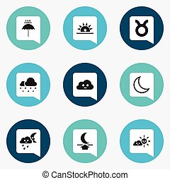Set Of 9 Editable Weather Icons. Includes Symbols Such As Happy Overcast, Hail, Sunset And More. Can Be Used For Web, Mobile, UI And Infographic Design.