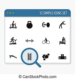 Set Of 12 Editable Training Icons. Includes Symbols Such As Racetrack Training, Executing Running, Strength And More. Can Be Used For Web, Mobile, UI And Infographic Design.