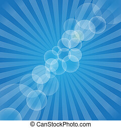 Blue Rays - Abstract Background - Blue Rays and Bubbles on...