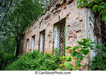 Wall with windows of the ruined Church of St. Nicholas the Wonderworker