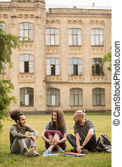 Students having lively conversation sitting on lawn.
