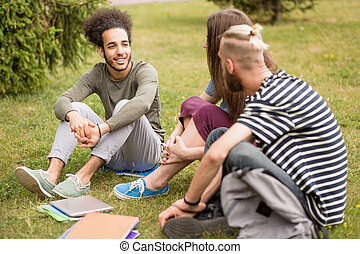 Students sitting at lawn talking after classes.