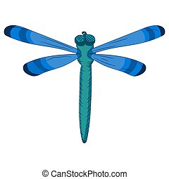 Bright blue dragonfly. Child s drawing. vector illustration....