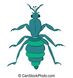 blue striped beetle with long paws and a rattle. Vector...