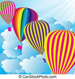 Summer Sky With Hot Air Balloons - Summer Background - Blue...