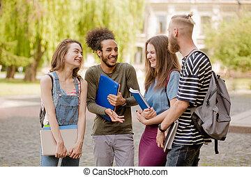 grupo, Multiétnico, estudiantes, conversación, animado,  Campus, teniendo