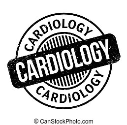 Cardiology rubber stamp. Grunge design with dust scratches....