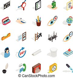 Business trip icons set, isometric style - Business trip...