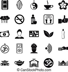 Asian culture icons set, simple style - Asian culture icons...