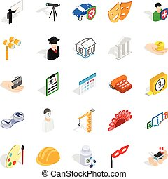 Creative work icons set, isometric style - Creative work...