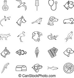 Domesticated animals icons set, outline style