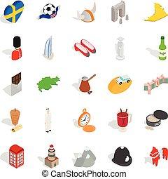 Western Europe icons set, isometric style