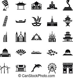 World religion icons set, simple style - World religion...