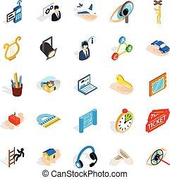 Office icons set, isometric style