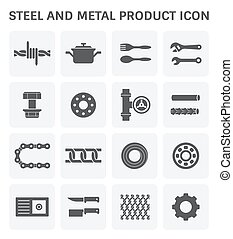 steel metal icon - Vector icon of steel and metal product.