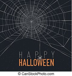 Halloween background with spider web and text