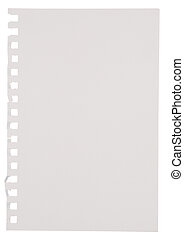 Paper - A Page Ripped Out Of A Notebook isolated on white...