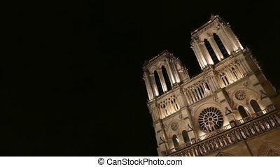 Notre Dame de Paris dramatic shot - Night Notre Dame...
