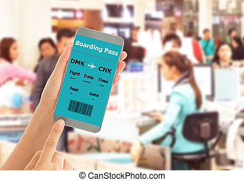 check in - Using mobile smart phone Check In Airport Flight....