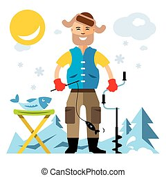 Vector Winter fishing. Flat style colorful Cartoon...