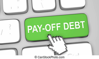 Pay off debt online concept render illustration