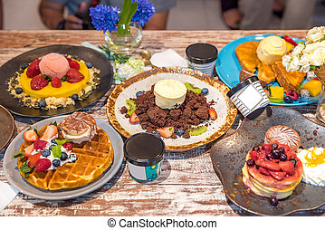 Dessert table top view - Variety of Dessert on table top...