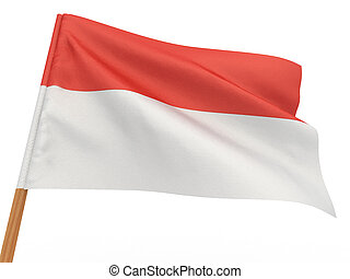 flag fluttering in the wind Indonesia 3d