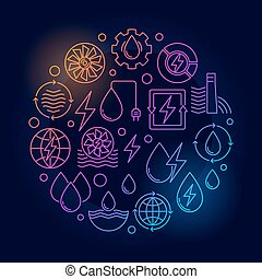 Water power round colorful illustration. Vector renewable...
