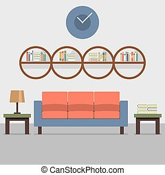 Sofa With Modern Bookcase Vector Illustration
