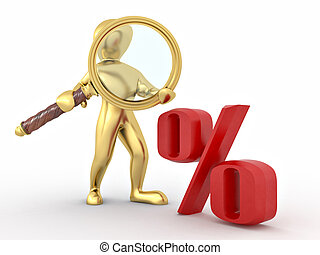 Men with loupe and percent