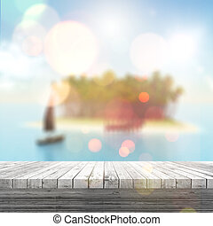 3D white wooden table looking out to a defocussed tropical...