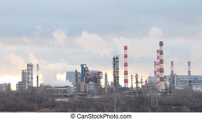 Pipes of the oil refining factory in Moscow, Russia