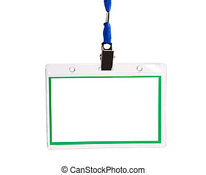 card empty ID badge isolated on white background