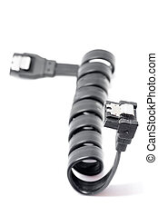 Black Serial-ATA cable on white. - Serial ATA data cable and...